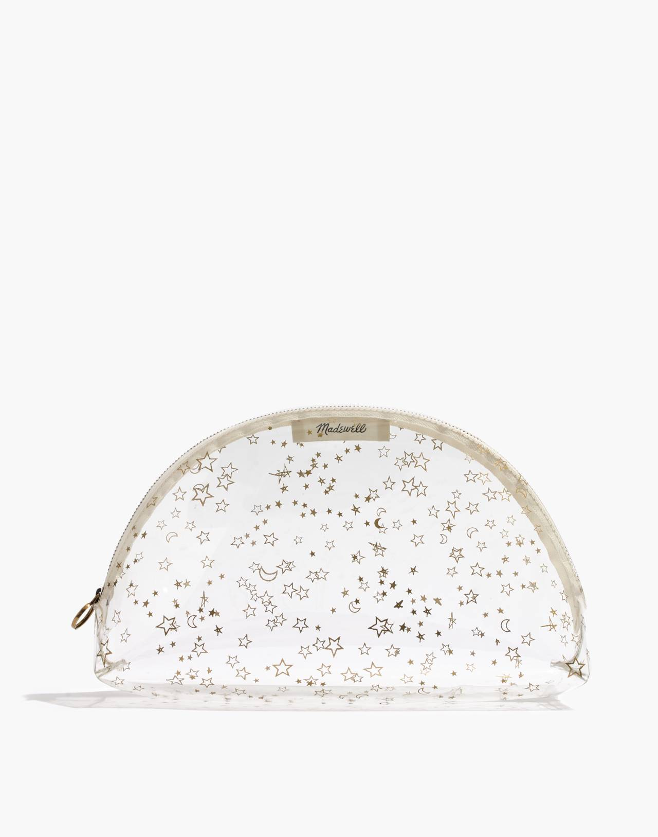 Large Crystalline Half-Moon Pouch in Starry Night in gold metallic image 1