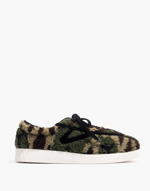 Tretorn® Nylite Plus Sneakers in Camo Faux Shearling in olive black image 3