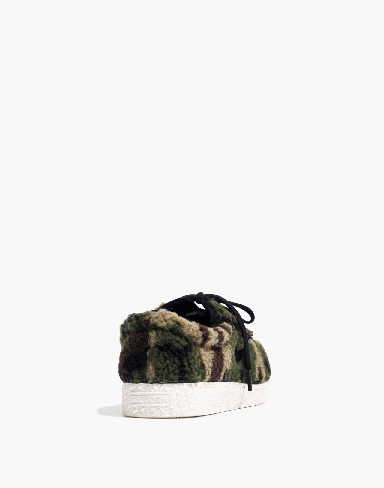 Tretorn® Nylite Plus Sneakers in Camo Faux Shearling in olive black image 4
