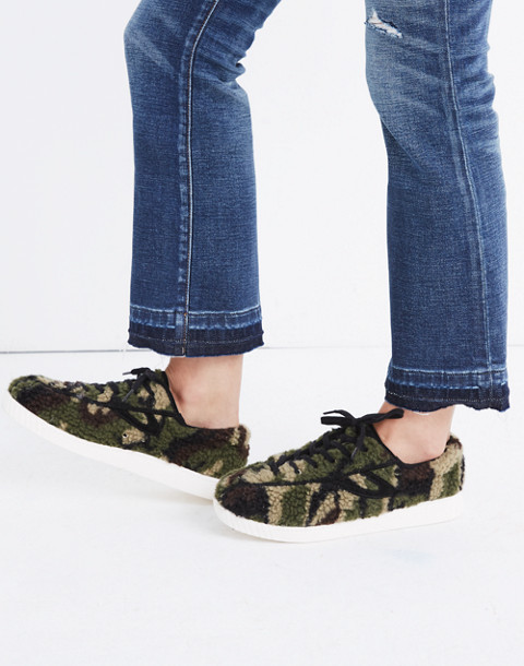 Tretorn® Nylite Plus Sneakers in Camo Faux Shearling in olive black image 2