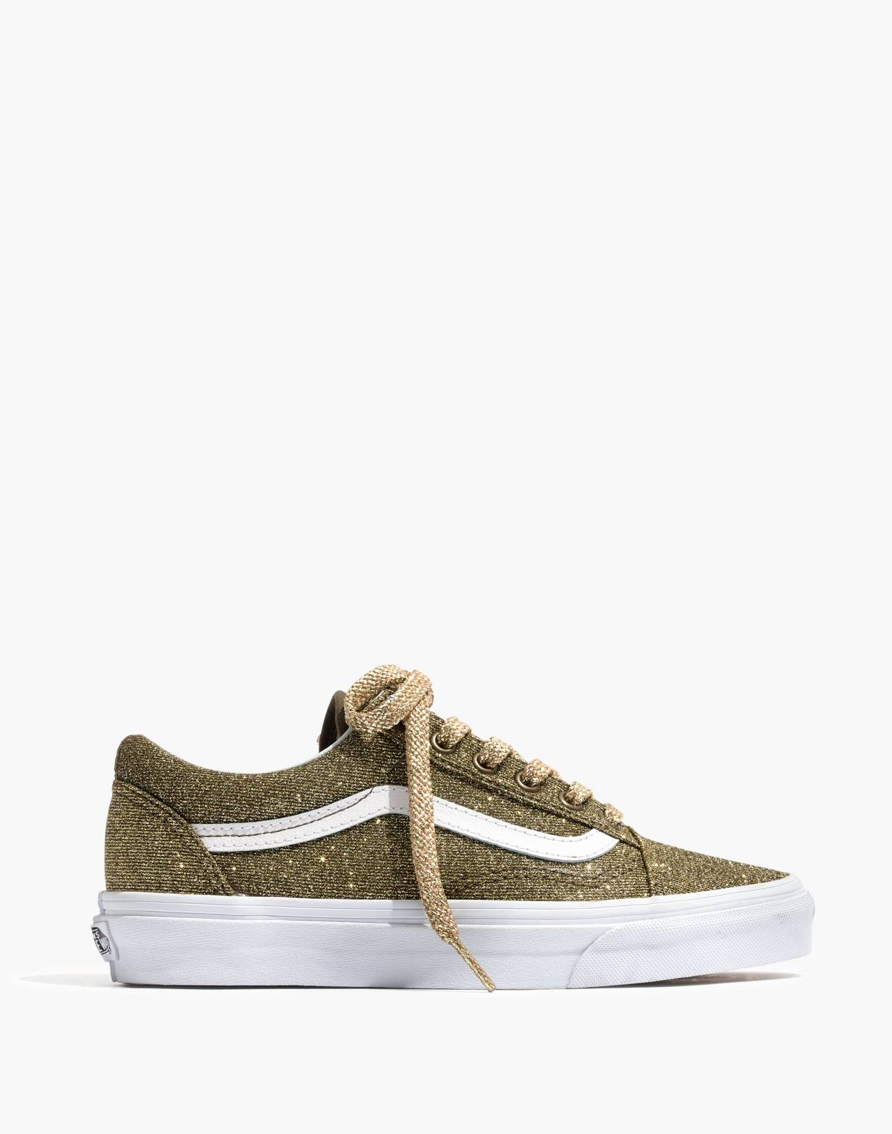 Vans® Unisex Old Skool Lace-Up Sneakers in Gold Glitter in gold true white image 3