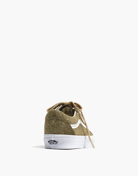 Vans® Unisex Old Skool Lace-Up Sneakers in Gold Glitter in gold true white image 4