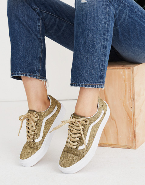 Vans® Unisex Old Skool Lace-Up Sneakers in Gold Glitter in gold true white image 2