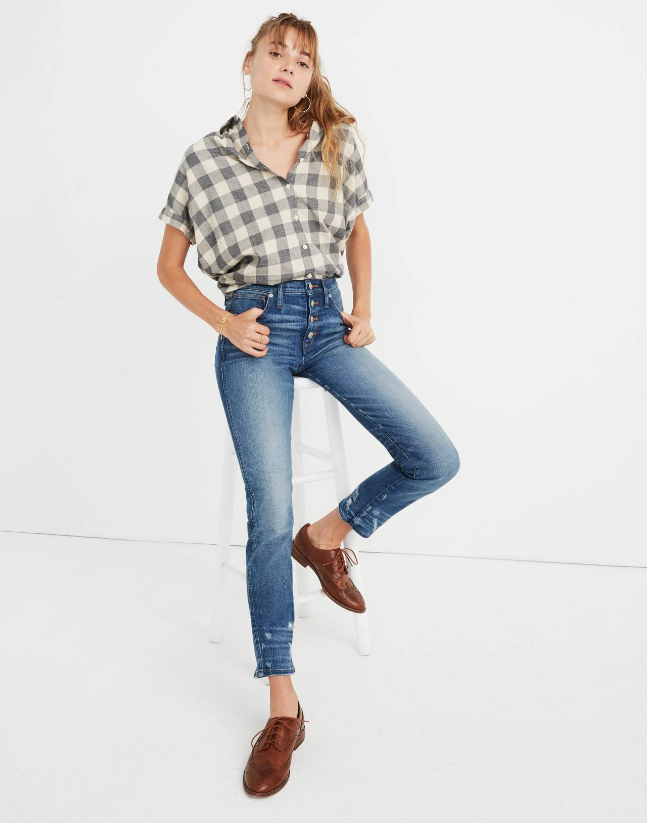 Tall Slim Straight Jeans: Distressed Button-Front Edition in wellmoor image 2