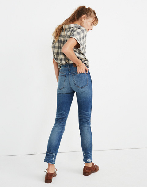 Petite Slim Straight Jeans: Distressed Button-Front Edition in wellmoor image 3