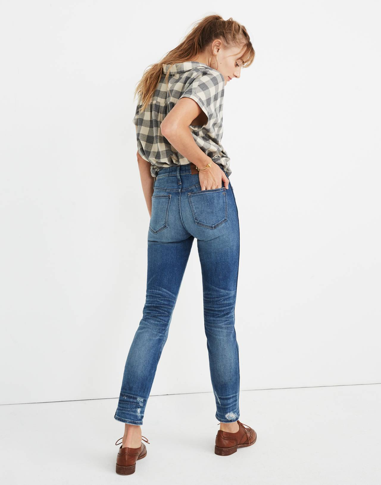 Tall Slim Straight Jeans: Distressed Button-Front Edition in wellmoor image 3