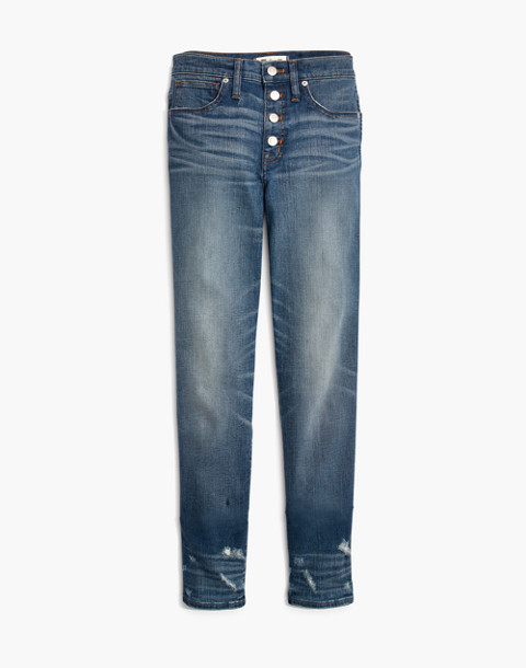Slim Straight Jeans: Distressed Button-Front Edition in wellmoor image 4