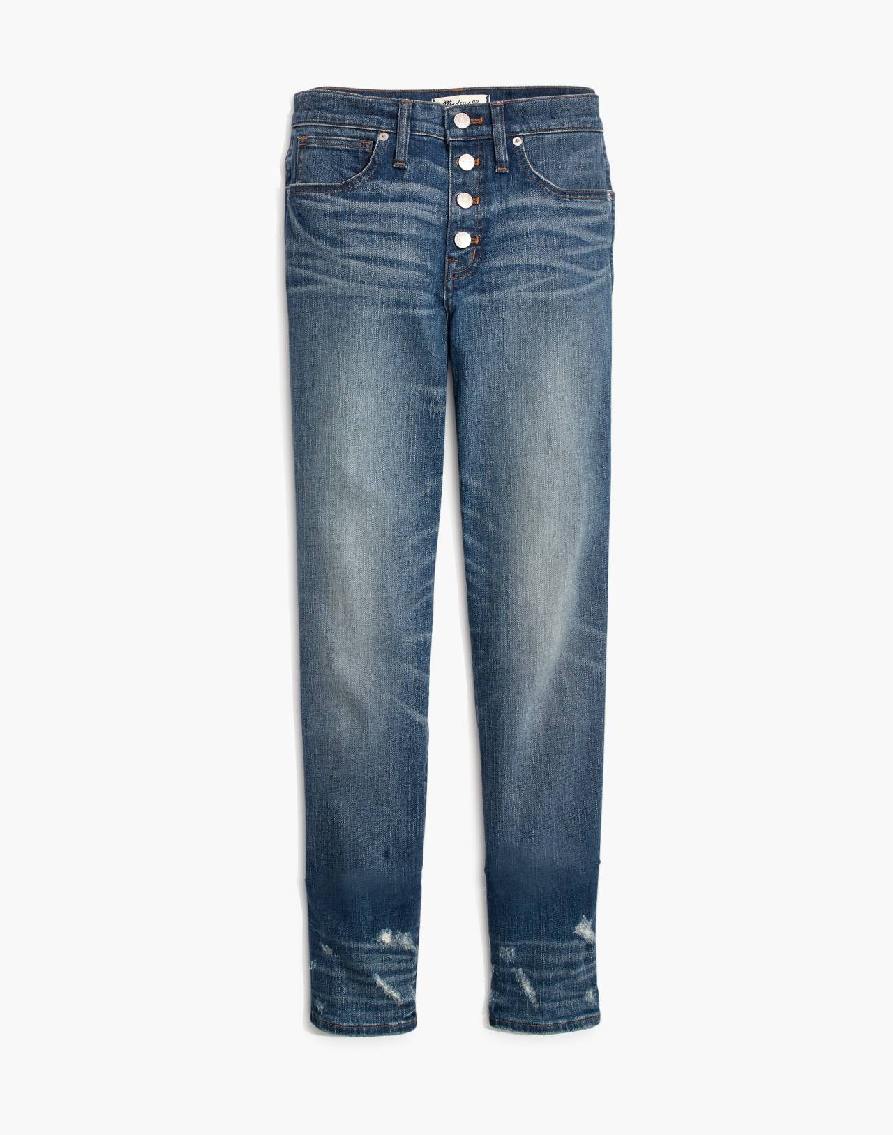 Tall Slim Straight Jeans: Distressed Button-Front Edition in wellmoor image 4
