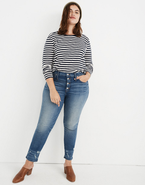 Petite Slim Straight Jeans: Distressed Button-Front Edition in wellmoor image 1