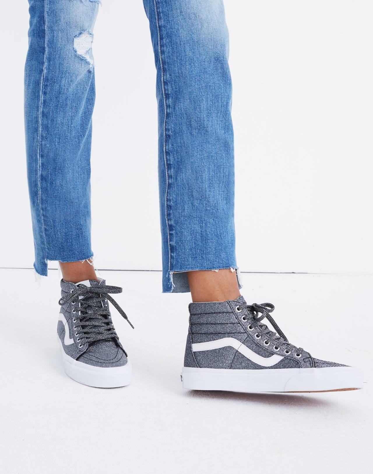 Vans® Unisex SK8-Hi Reissue High-Top Sneakers in Black Glitter in black image 2