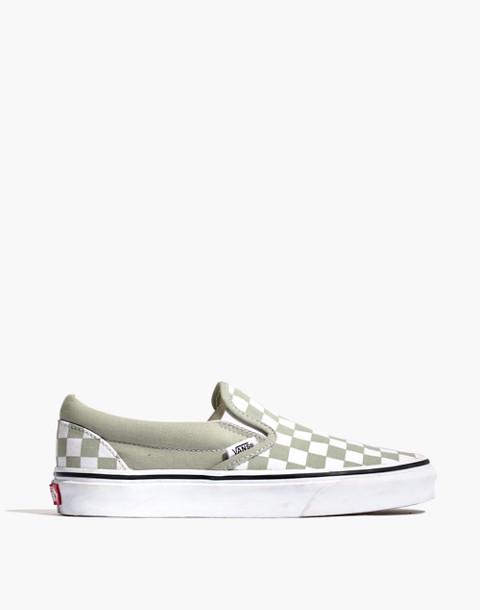 f567be8d3440 Vans reg  Unisex Classic Slip-On Sneakers in Desert Sage Checkerboard in desert  sage true