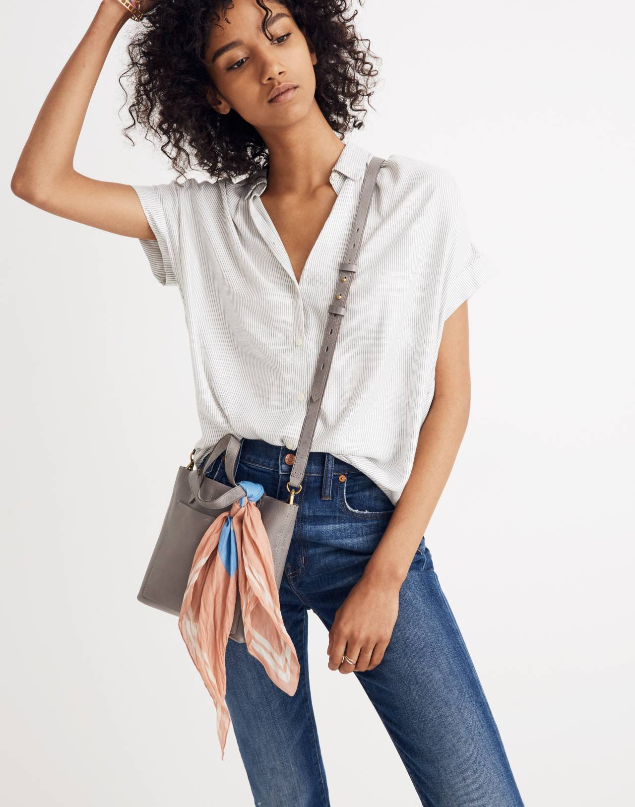 Central Shirt in Luis Stripe in white wash image 3