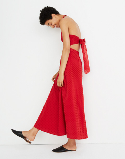 Halter Tie-Back Midi Dress in Clipdot in cranberry image 2