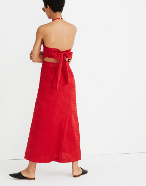 Halter Tie-Back Midi Dress in Clipdot in cranberry image 3