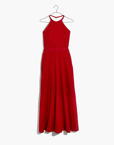 Halter Tie-Back Midi Dress in Clipdot in cranberry image 4