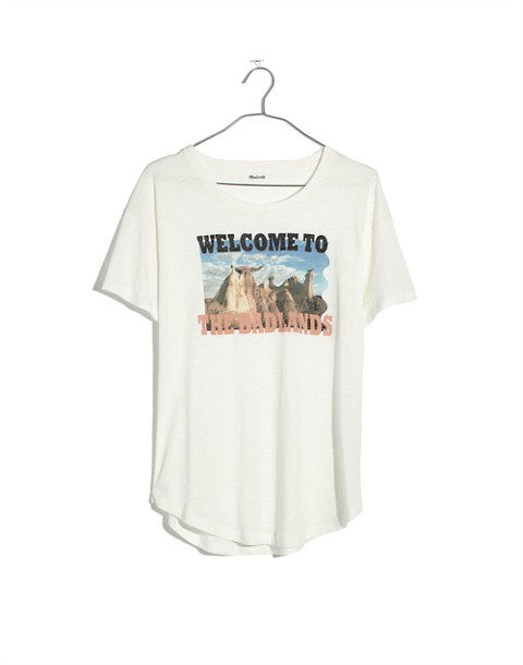 Welcome to the Badlands Whisper Cotton Crewneck Tee in white wash image 4
