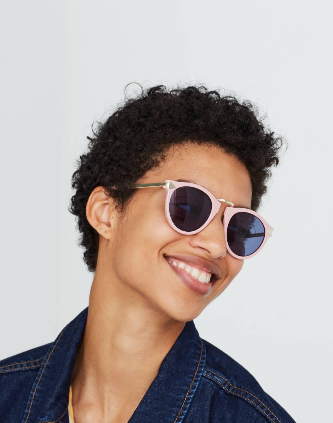Madewell x Karen Walker® Helter Skelter Sunglasses in shiny pink image 3