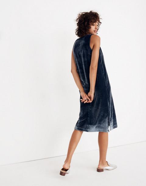 Velvet Button-Front Midi Dress in forgotten sea image 3