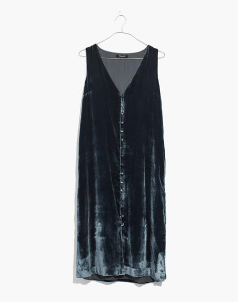 Velvet Button-Front Midi Dress in forgotten sea image 4