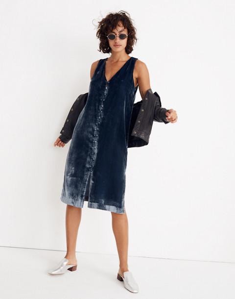 Velvet Button-Front Midi Dress in forgotten sea image 1