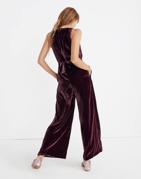 Velvet Twist-Front Jumpsuit in pinot noir image 3