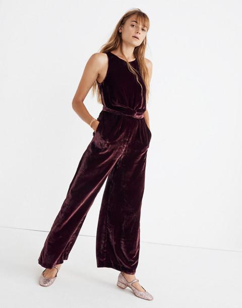 Velvet Twist-Front Jumpsuit in pinot noir image 1