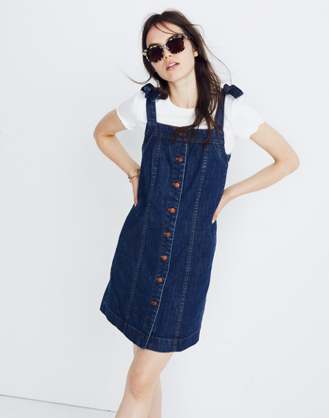 Denim Tie-Strap Mini Dress