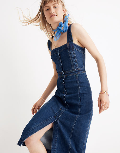 4aa26f4bd4c Denim Covered-Button Dress in null image 1