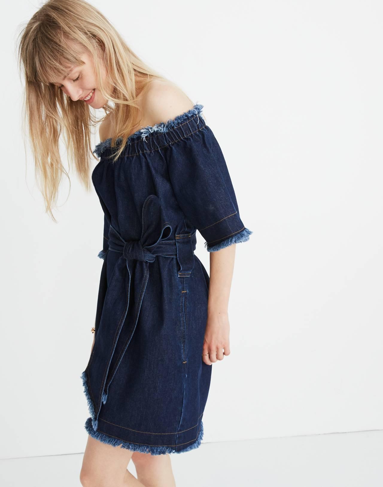 Madewell x Karen Walker® Fathom Denim Off-the-Shoulder Dress in walker wash image 2