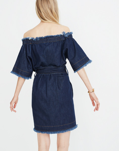 Madewell x Karen Walker® Fathom Denim Off-the-Shoulder Dress in walker wash image 3