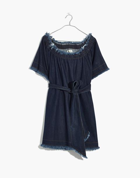Madewell x Karen Walker® Fathom Denim Off-the-Shoulder Dress in walker wash image 4