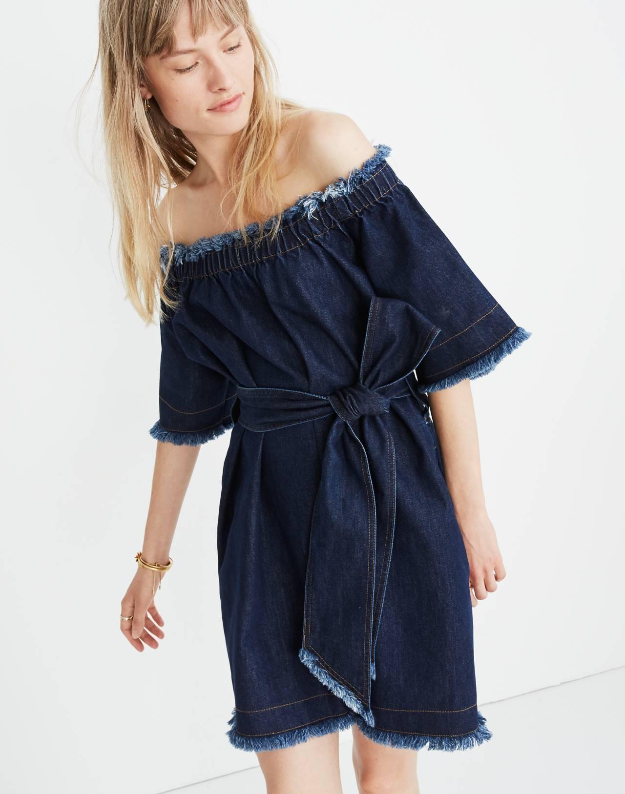 Madewell x Karen Walker® Fathom Denim Off-the-Shoulder Dress in walker wash image 1
