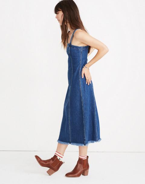 Raw-Hemmed Denim Seamed Dress in tilsen wash image 2