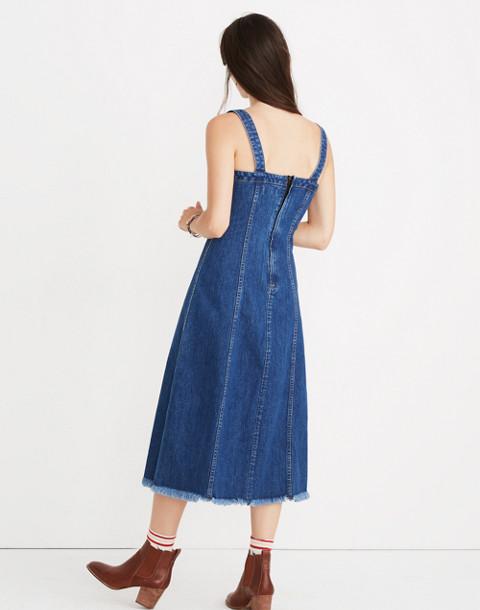 Raw-Hemmed Denim Seamed Dress in tilsen wash image 3