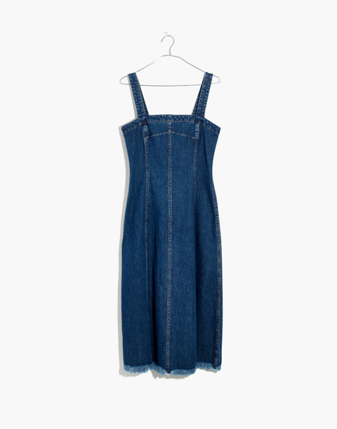 Raw-Hemmed Denim Seamed Dress in tilsen wash image 4