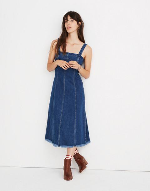 Raw-Hemmed Denim Seamed Dress in tilsen wash image 1