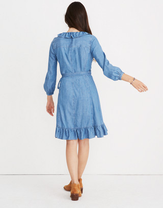 Denim Ruffled Wrap Dress in ladonia wash image 2