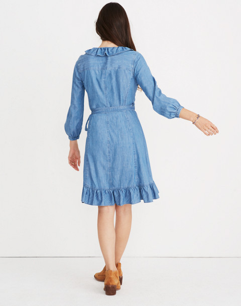 Denim Ruffled Wrap Dress in ladonia wash image 2