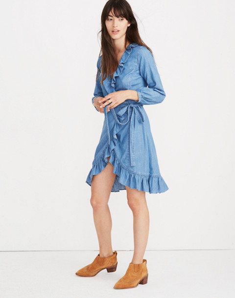 Denim Ruffled Wrap Dress in ladonia wash image 3