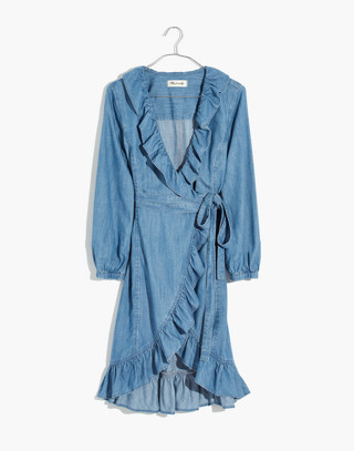 Denim Ruffled Wrap Dress in ladonia wash image 4