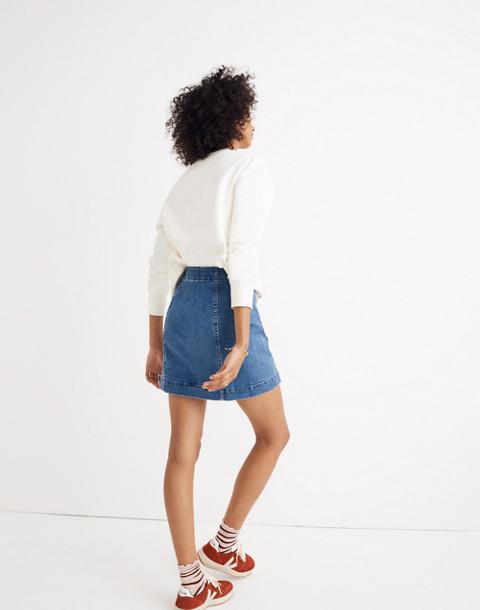 Stretch Denim A-Line Mini Skirt: Asymmetrical Edition in hermosa wash image 3