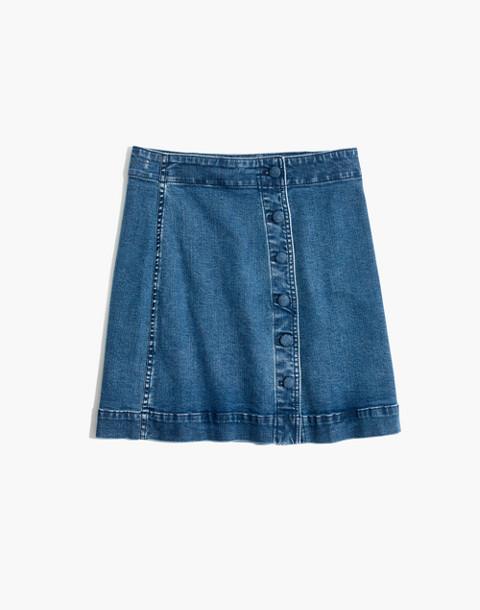 Stretch Denim A-Line Mini Skirt: Asymmetrical Edition in hermosa wash image 4