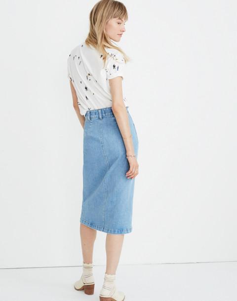 Denim Zip Midi Skirt in Janice Wash