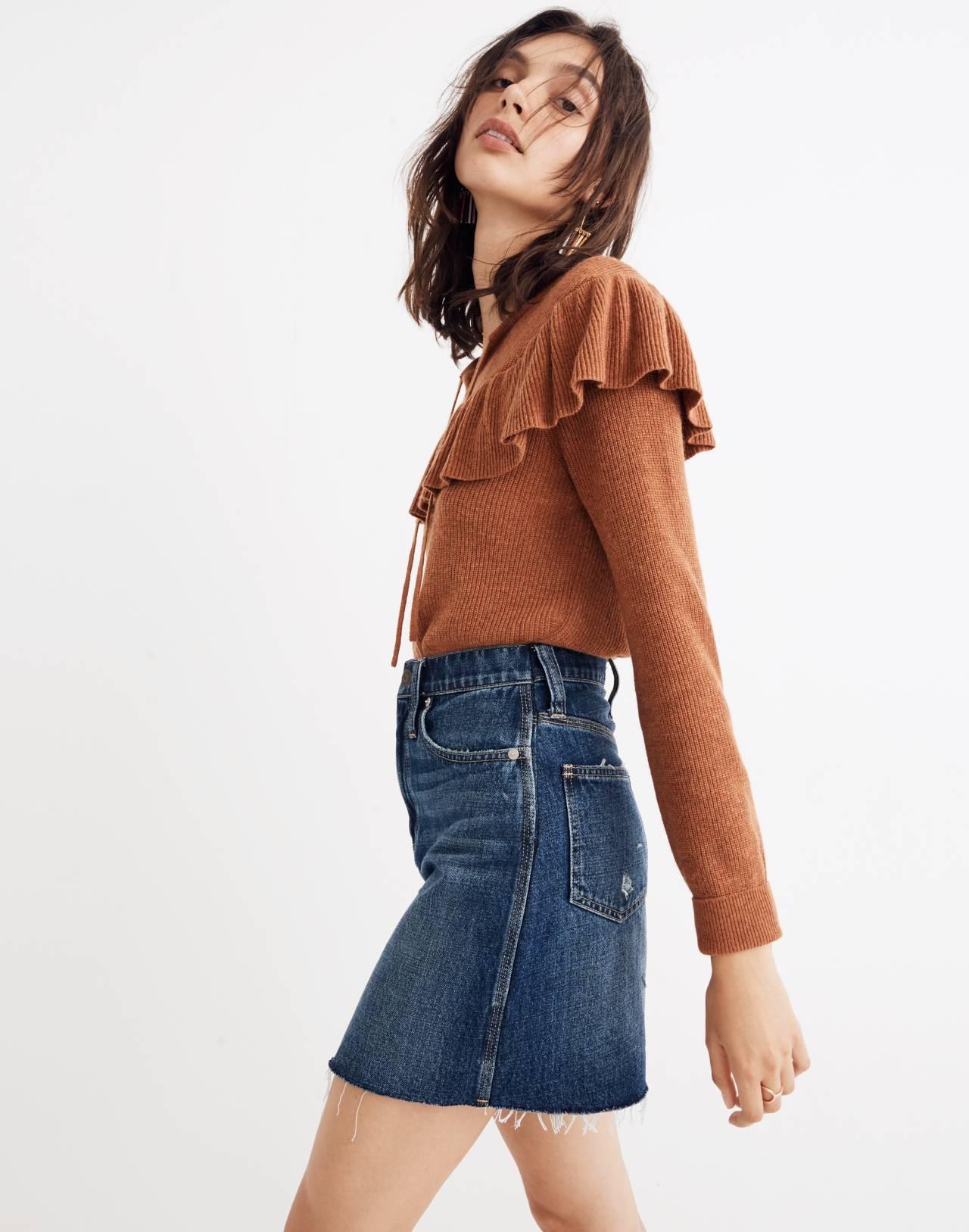 Rigid Denim Straight Mini Skirt: Reworked Edition in maxdale wash image 2