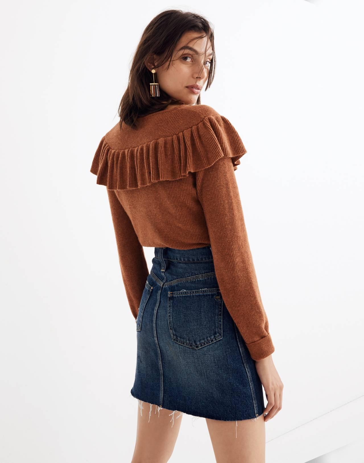 Rigid Denim Straight Mini Skirt: Reworked Edition in maxdale wash image 3