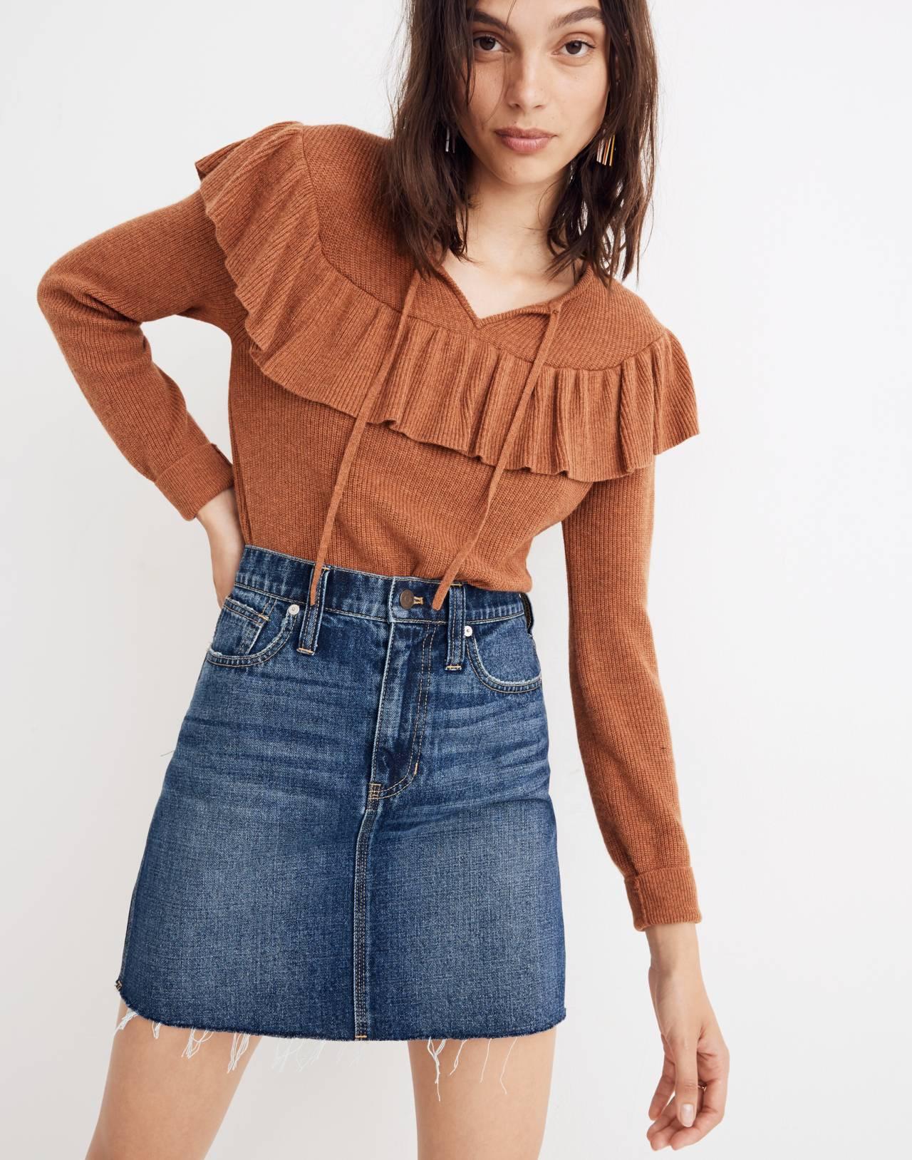 Rigid Denim Straight Mini Skirt: Reworked Edition in maxdale wash image 1