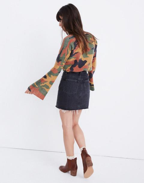 Rigid Denim Straight Mini Skirt in Hideaway Wash in hideaway wash image 3
