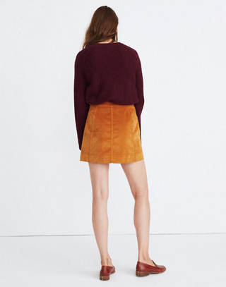 Velveteen A-Line Mini Skirt: Button-Front Edition in golden pecan image 2