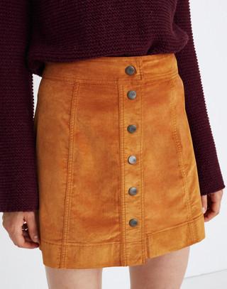 Velveteen A-Line Mini Skirt: Button-Front Edition in golden pecan image 3