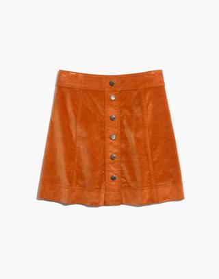 Velveteen A-Line Mini Skirt: Button-Front Edition in golden pecan image 4